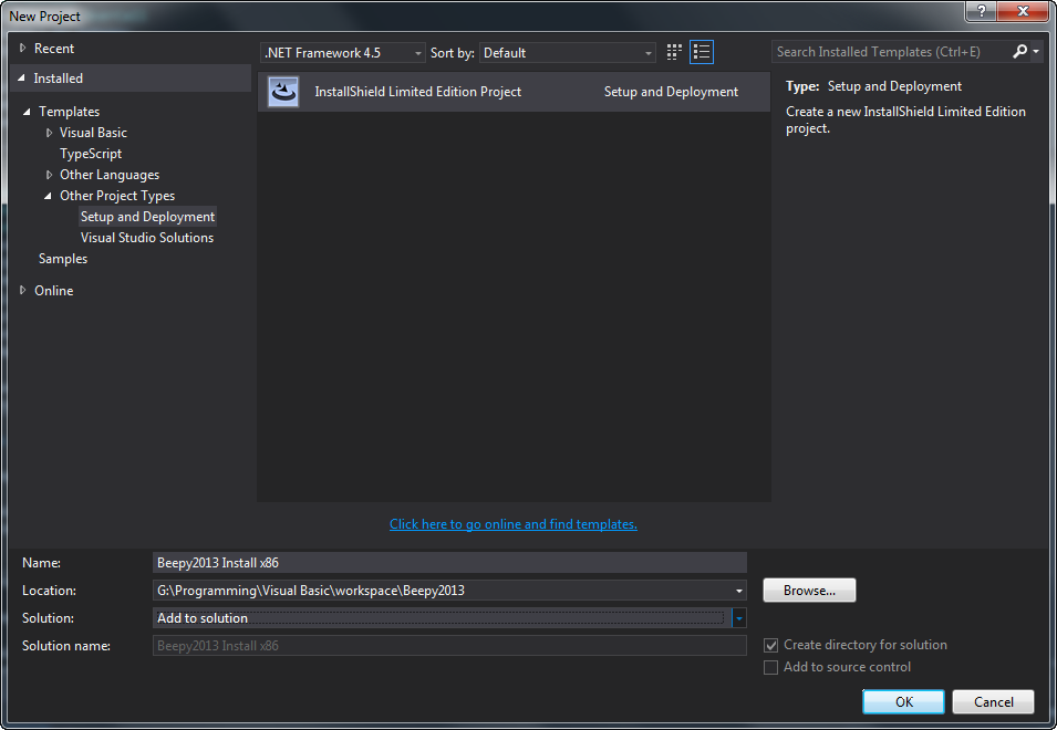 Using Visual Studio 2013 Professional to build a Microsoft
