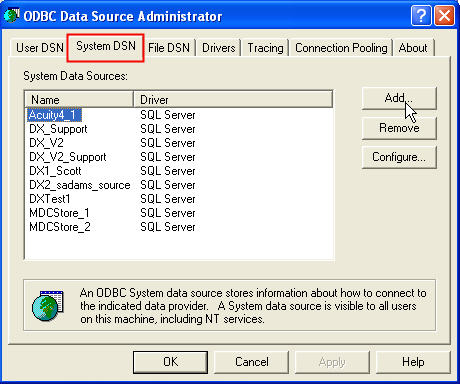 Database: Creating a Data Source in Windows